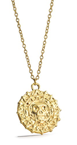 REINDEAR Pirates of The Caribbean Movie Cursed Aztec Cortez Coin Pendant Necklace (Gold)
