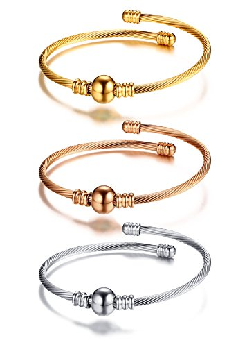 Mealguet Jewelry Fashion Stainless Steel Triple Three Stackable Cable Wire Twisted Cuff Bangle Bracelets Set for Women (Style -