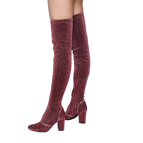 Beston EJ58 Frauen Snug Fit Block Heel über Kniehohe Stiefel halbe Größe klein Burgunder Glitter