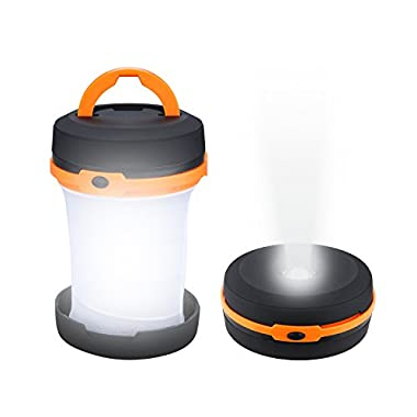 AK Camping Lanterns, Collapsible Mini Waterproof Lightweight Led Flashlights Battery Operated for Hiking Fishing Outages Emergency Outdoor Adventures (Orange)