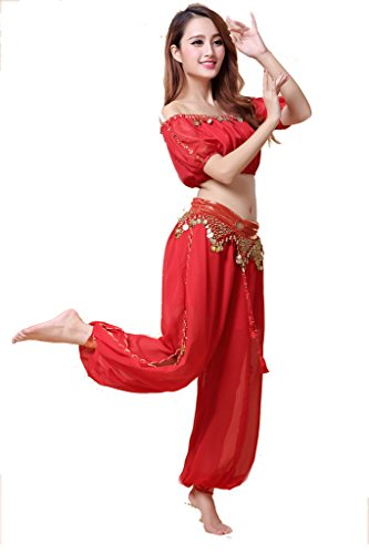 ZLTdream Lady's Belly Dance Chiffon Bra Top and Lantern Coins Pants Red -