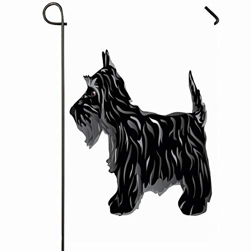 (Ahawoso Outdoor Garden Flag 12x18 Inches Terrier Black Scottie Dog Scotty Aberdeen Breed Canine Cute Design Seasonal Home Decorative House Yard Sign)