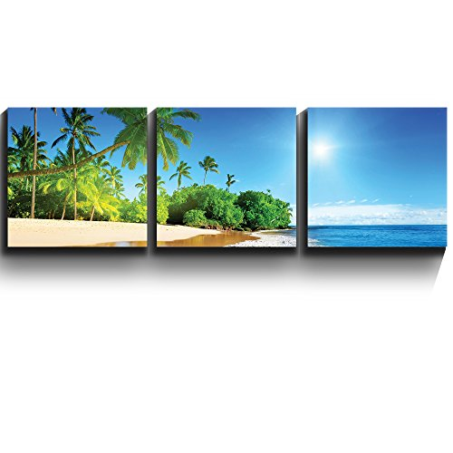3 Square Panels Contemporary Art Palm trees on tropical beach vacation Three Gallery ped Printed Piece x3 Panels