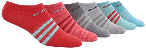 adidas Women's Superlite No Show Socks (6-Pair), Core Pink/Clear Aqua/Core Pink - Light Flash Red Spa, Medium, (Shoe Size 5-10)