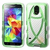 MYBAT T-Green/Solid White Fish Hybrid Protector Cover compatible with Samsung Galaxy S5