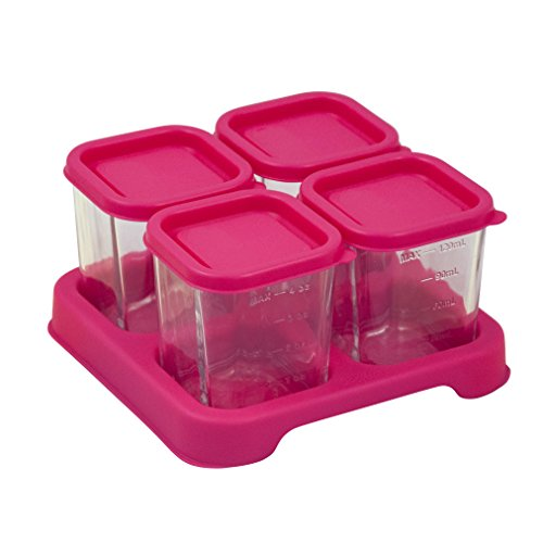 Price comparison product image Green Sprouts Reusable Baby Food Glass Containers Freezer Cubes 4 Ounce Pink