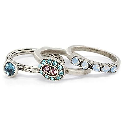 Inspirational Silver Swarovski Crystal Boho Reflection Stack Rings - Set of 3 Stacking Rings (Size (Boho Rings Silver)