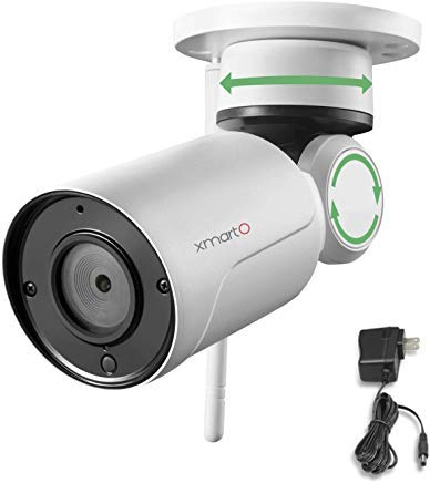 4x Digital Zoom Lens - xmartO WP2024 [Pan Tilt & Built-in Audio] Add-on 1080p HD Wireless Pan Tilt Outdoor Security Camera 4mm Lens, 180° Pan and 55° Tilt Remote Control, 4X Digital Zoom and 80' IR Night Vision