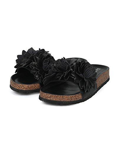 Alrisco Kvinner Leather 3d Blomster Åpen Tå Fotseng Lysbilde - Hg30 Av Oppdaterings Samling Sort Lær