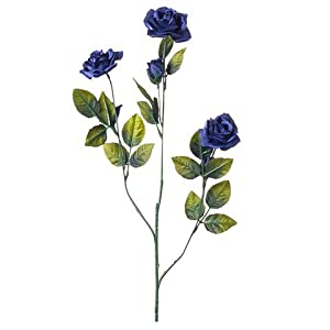 "Rose Spray 8711-95 Everyday Long stem Satin Rose X3 3 Buds, 24"", Navy Blue 41"