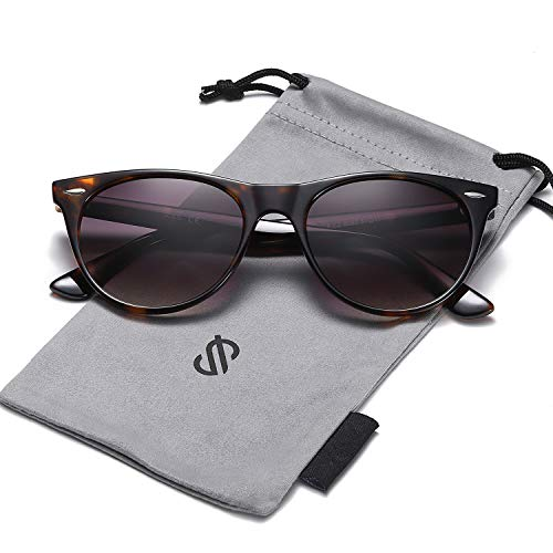SOJOS Vintage Polarized Sunglasses for Women Men UV400 Protection Lenses CELEB SJ2076 with Dark Tortoise Frame/Gradient Grey Polarized Lens (Celeb Sunglasses)