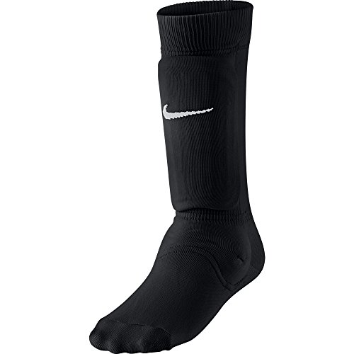 NIKE Kids' Unisex Shin Sock Sleeve, Black/White, Medium/Large