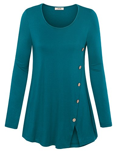 Comfort Neck Button (Vivilli Tunic Blouses For Women, Tops For Work Scoop Neck Solid Comfort Tee Shirts With Decorative Buttons Dark Cyan M)