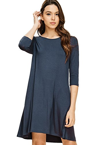 Slanted Pocket - Annabelle Women's Mini Length Knit Solid Dress Featuring Round Neck 3/4 Sleeves A-Line Relaxed Babydoll Fit with Side Slanted Pockets Slate Small D5211K