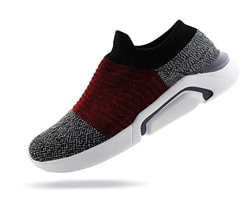 (Jabasic Mens Knit Atheletic Walking Shoes Lightweight Easy Walk Slip On Sneakers (12 B(M) US, Grey/Red))