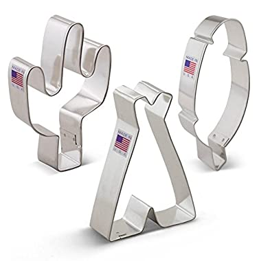Ann Clark American Southwest Cookie Cutter Set - 3 Piece - Cactus, Teepee, and Feather - Tin Plated Steel