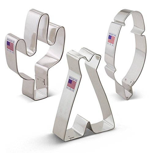 American Southwest Cookie Cutter Set - 3 Piece - Cactus, Teepee, and Feather - Ann Clark - US Tin Plated - American Cookie