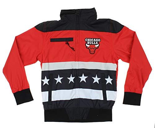 Chicago Bulls NBA Big Boys Stars & Stripes Full Zip Track Jacket, Black/Red (Medium 10-12)