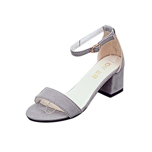 Gris Zapatos con de grueso de mujer Mujeres Sandalia sola tacón el pieza Sandalias LMMVP en una verano para Sandalias tobillo correa de HFP1Aqxx