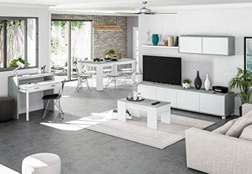 Habitdesign 016663L Mueble de salón Moderno, modulos Comedor Alida, Blanco Artik y Gris Cemento, 200 x 41 x 43 cm