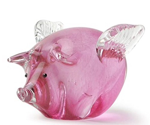 Blown Glass Pig (Dynasty Gallery Hand Blown Glass Pink Flying Pig with Wings: