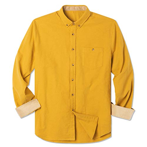 Brushed Flannel Shirt - INVACHI Men's Solid Cotton Brushed Flannel Shirt Long Sleeve Button Down Casual Shirt with Corduroy Contrast Yellow