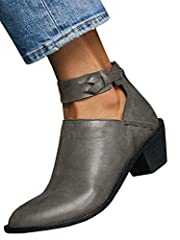Ermonn Womens Cut Out Booties Buckle Strap Back Zipper Leather Stitch Ankle Boots                     Style: Fashion, Stylish              Heel: Chunky stacked heel              Features: Cut out, Ankle strap                     Attent...