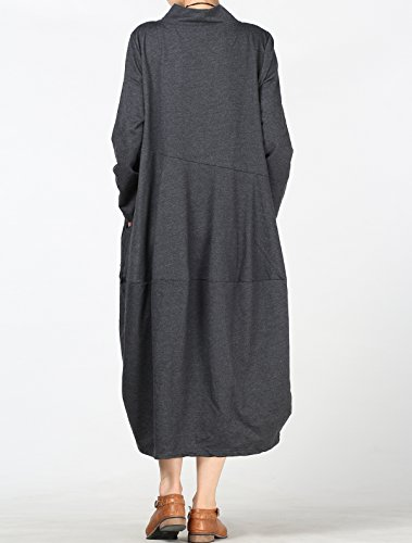Elegante Donna Tops Vestito Vogstyle Pullover Primavera Loose Grigio Alto Collo Abito aq6X4d