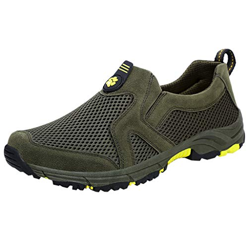 Aubbly_Shoes Men Breathable Hiking Slip-On Casual Non-Slip Mesh Lightweight Athletic Lace Up Sports Fashion Air Cushion Sneakers Green ()