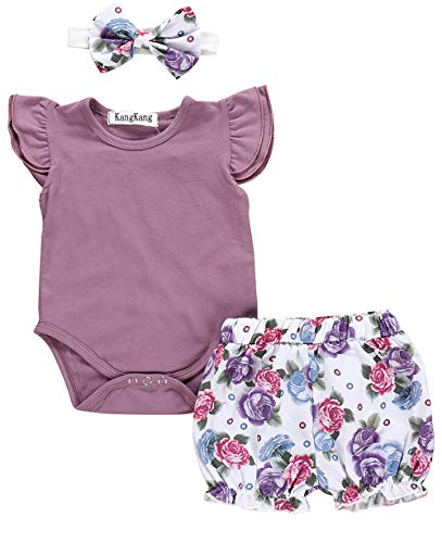 Newborn Baby Girl Clothes Flare Sleeve Romper + Floral Short Pants 3pcs Summer Outfit Set 0-3 Months Purple