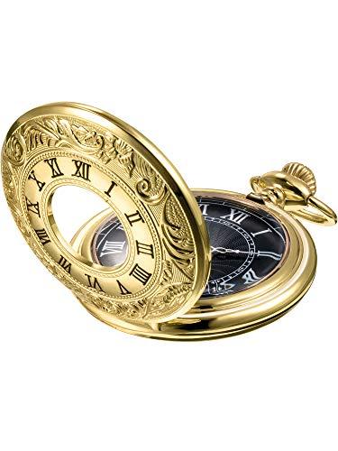 Mudder Vintage Roman Numerals Scale Quartz Pocket Watch with Chain (Gold)