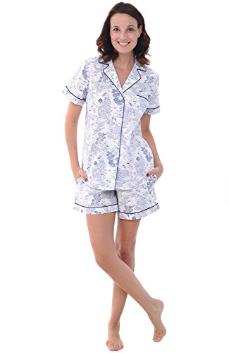 Alexander Del Rossa Woven Cotton Floral and Paisley Short Sleeved Pajama Set with Shorts, 100% Cotton Pjs