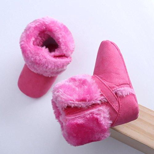 Tefamore botas zapatos bebes zapatilla de deporte de primeros pasos de antideslizante de solo suave de moda invierno de calentar Rosa caliente