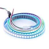 BTF-LIGHTING WS2812B 1m 144leds/pixels/m Flexible Black PCB Individually Addressable Led Strip Dream Color IP67 Tube Waterproof DC5V 3.3ft 144LEDs Black PCB