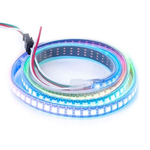 BTF-LIGHTING WS2812B 144 leds/pixels/m Black PCB Waterproof IP67 Individual Addressable Full Color led pixel strip Dream Color 3.2FT 1m