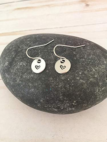Small Silver Heart Stamped Dangle Earrings