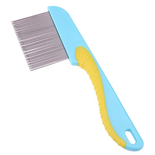 Jeff Tribble Comb for Dogs Cats Hair Removal Single Row Straight Puppy Hair Grooming Stainless Steel 40 Pins Cleaning blue 16 x 6 x 0.2 cm