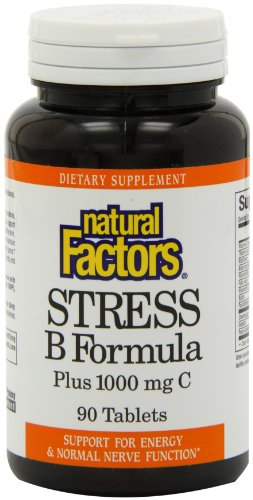 Natural Factors Vitamin B Stress Formula 25mg Tablets, 1000mg, 90-Count