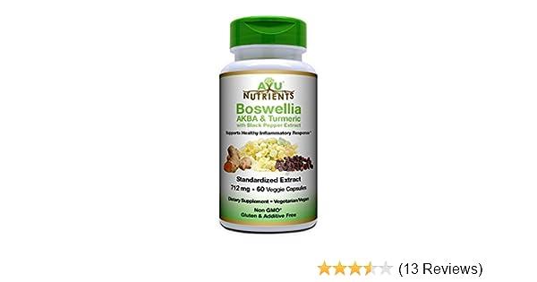 AyuNutrients 75% Boswellia AKBA+Turmeric+95% Pepper Extract-712mg, 60 Vcaps  -Highest Potency