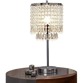 Surpars House Elegant Crystal Silver Table Lamp Amazon Com