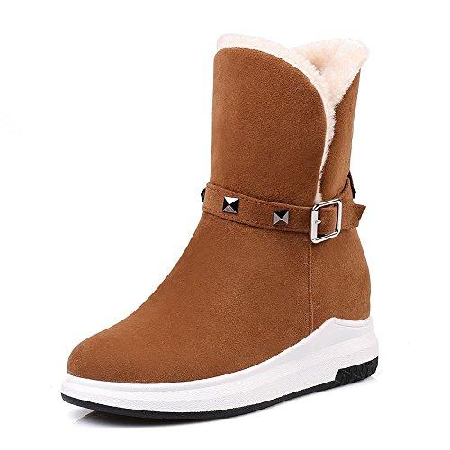 SaraIris Women Artificial Plush Buckle Daily Sport Snow Boots