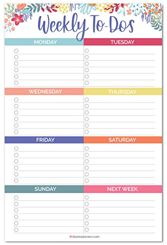 bloom daily planners Undated Weekly Tear-Off to Do List Planning Pad with Magnets - Hanging Notepad Organizer for Fridge - 6 x 9 - Floral Dots