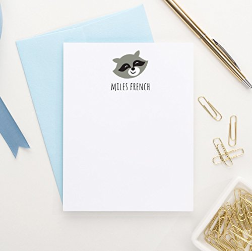Personalized Stationery Kids (Raccoon Note cards for kids, Forest Animals Baby shower thank you cards, Personalized stationery for Boys, Animal stationary, Set of 10 flat note cards and envelopes)