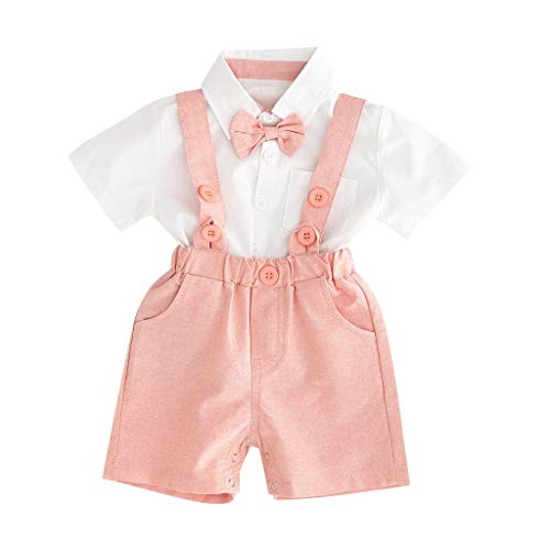 2PCS Baby Boys Outfit Kids Gentleman Bowtie Romper+Suspenders Shorts Pant Infant Formal Birthday Party Baptism Set