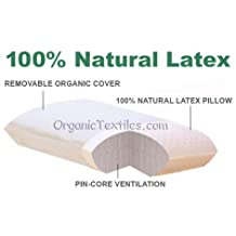 100% Natural Talalay Latex Pillow with Removable Organic Cover Queen - Firm