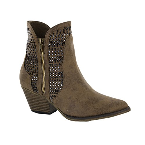 MIA Women's Joaquin Ankle Bootie, Mushroom, 8 M US (Suede Mia Wedges)