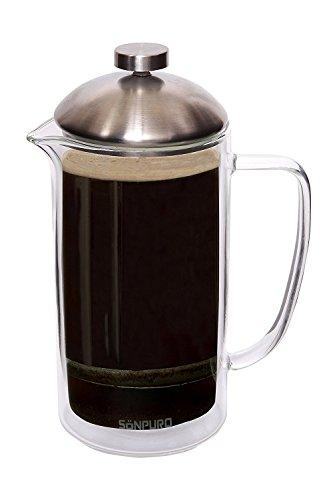 Sonpuro French Coffee Press 34oz (8cup)-Double Wall Insulated Borosilicate Glass Premium Coffee Press & Tea Maker…