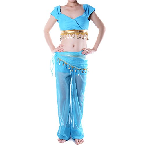 [Sexy Princess Jasmine Costume Adults Aladdin's Cosplay Halloween Belly Dance (Medium, Blue)] (Halloween Jasmine Costume)