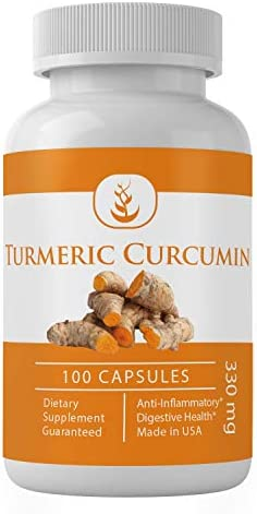 Turmeric 100 Capsules, 330 mg Serving Natural Anti-Inflammatory Support for Joint Pain, Arthritis, and Heartburn* Packaging May Vary by Pure Organic Ingredients