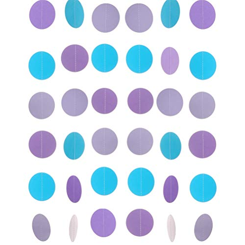 - MOWO Paper Garland Circle Dots Hanging Decoration, 2.5'' in Diameter,10-feet (Purple,Lavender,Turquoise Blue, 2pc)